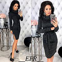 Теплое платье женское ЕФ/-459 - Черный, фото 1