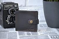 Мужское портмоне из натуральной кожи с монетницей и застежкой