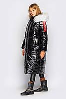 Модная зимняя длинная куртка для девочки, 128 - 158. Детское, подростковое зимнее пальто блеск.