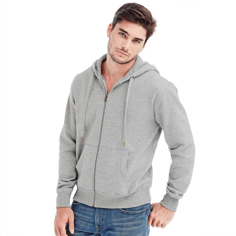 Мужская кофта с капюшоном на молнии серая, кенгуру Stedman - Grey Heather СТ5610