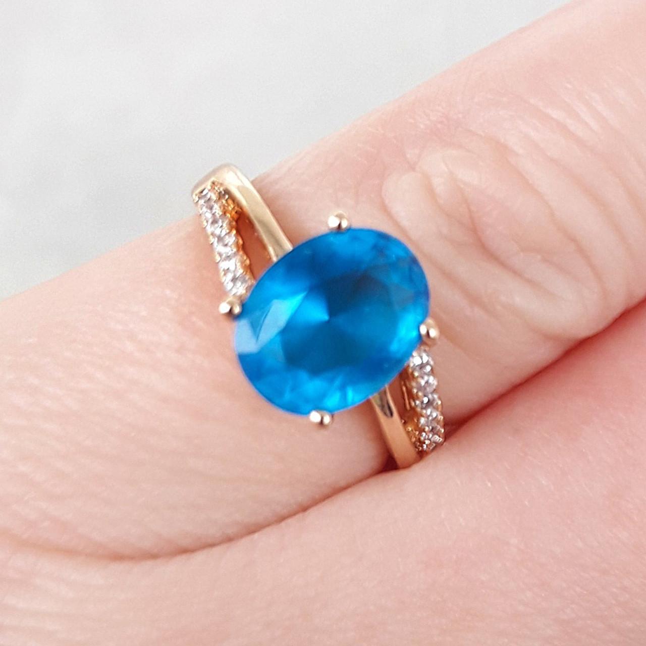 Кольцо 16р xuping позолота 18К с голубым цирконием 8187