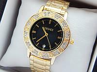 Женские кварцевые наручные часы  Versace (Версаче) на металлическом браслете, золотые с черным - код 1591