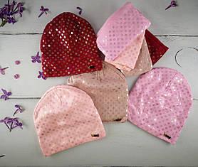 Комплект для дівчаток Шапка+хомут Розмір 52-54 З помпоном Мікс колір. 2373(52-54) Vertex Україна