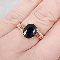 Кольцо 18р xuping позолота 18К с черным цирконием 8190, фото 1