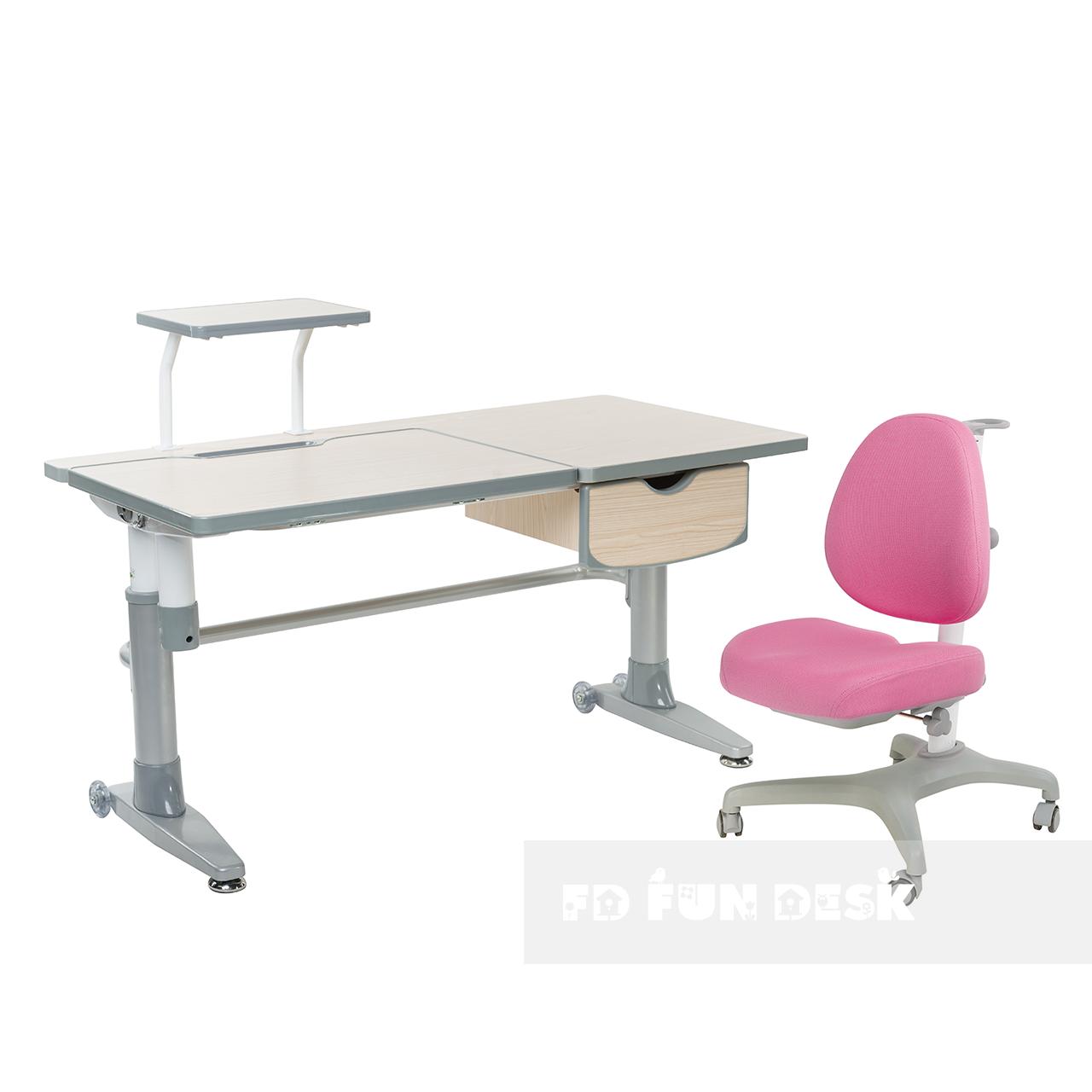 Комплект подростковая парта для школы Ballare Grey + ортопедическое кресло Bello I Pink FunDesk