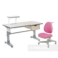 Комплект подростковая парта для школы Ballare Grey + ортопедическое кресло Bello I Pink FunDesk, фото 1