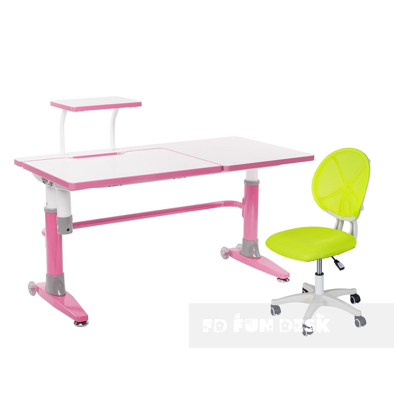 Комплект подростковая парта для школы Ballare Pink + детское кресло для школьника LST1 Green FunDesk