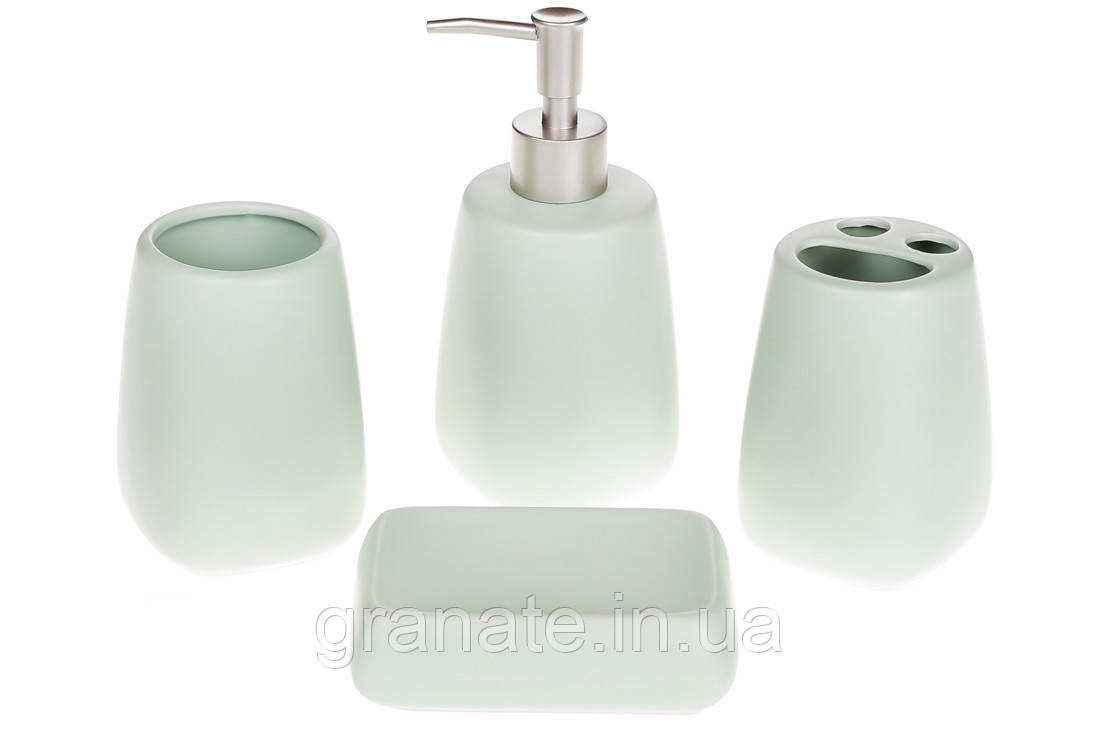 Аксессуары для ванны: дозатор, подставка для зубных щеток, стакан, мыльница, цвет - мятный