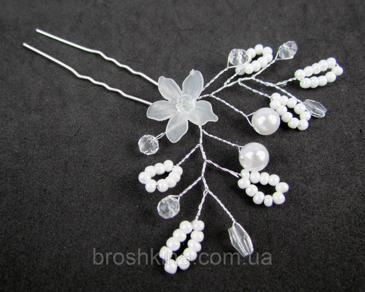 Свадебные шпильки для волос с жемчугом и кристаллами 12 шт/уп.