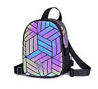 Рюкзак маленький 3D Adidas Reflective адидас мини школьный портфель мужской женский реплика 2981/35