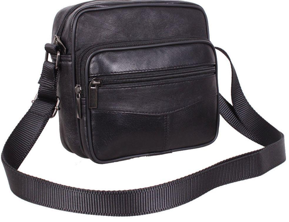 Мужская кожаная сумка Swan, черный