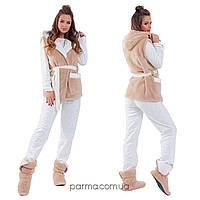 Женская теплая пижама с жилеткой и сапожками (р.42-46,46-48,50-52,52-54) флис+махра