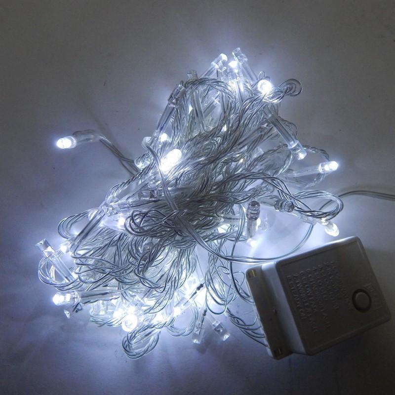 Гирлянда Нить электрическая 100 led, белая, прозрачный провод, 6,5м.