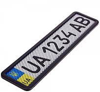 Рамка номера Milex черная с сеткой  RT-25352