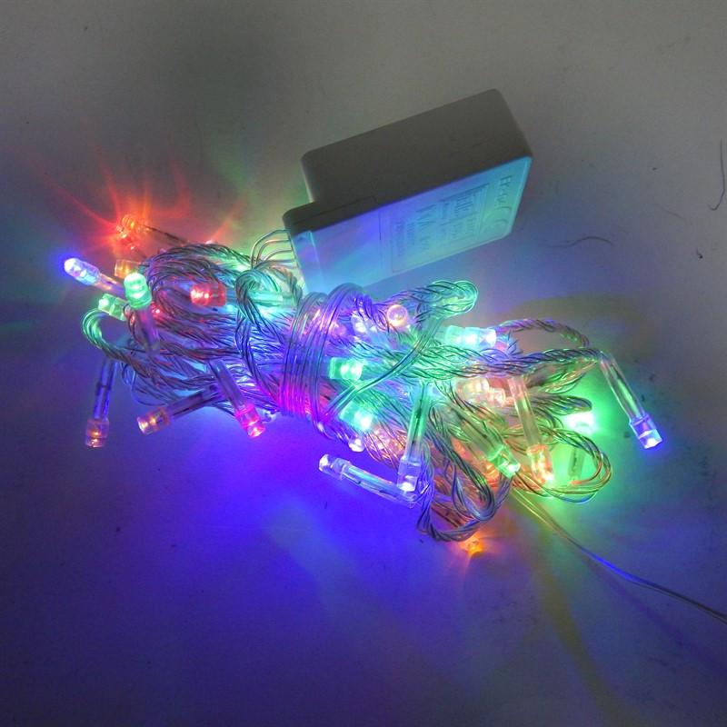 Гирлянда Нить электрическая 60 led, мульти, прозрачный провод, 4м.