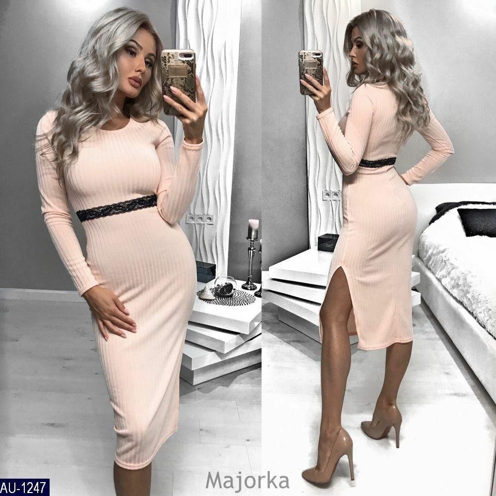"""Изящное женское платье ткань """"Мягкий Трикотаж Рубчик"""" 42 размер батал"""