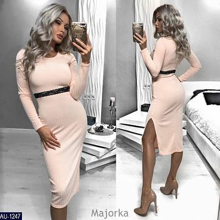 """Изящное женское платье ткань """"Мягкий Трикотаж Рубчик"""" 42 размер батал, фото 2"""