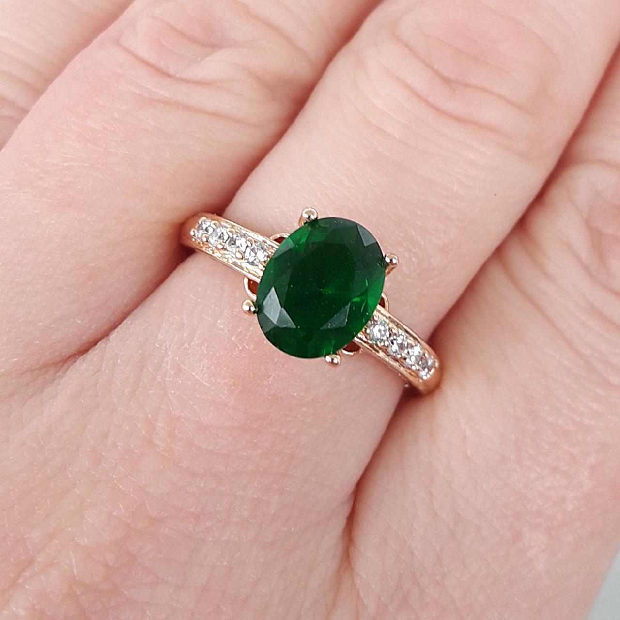 Кольцо 20р. xuping позолота 18К с зеленым цирконием 8367