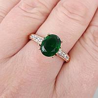 Кольцо 20р. xuping позолота 18К с зеленым цирконием 8367, фото 1