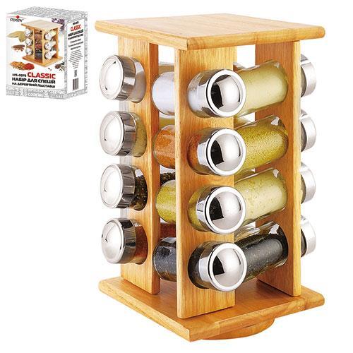 Специи на деревянной подставке набор ёмкости для специй на 16 шт