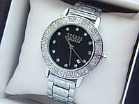 Жіночий кварцевий наручний годинник Versace Versus (Версаче) на браслеті, срібло з чорним - код 1597, фото 1
