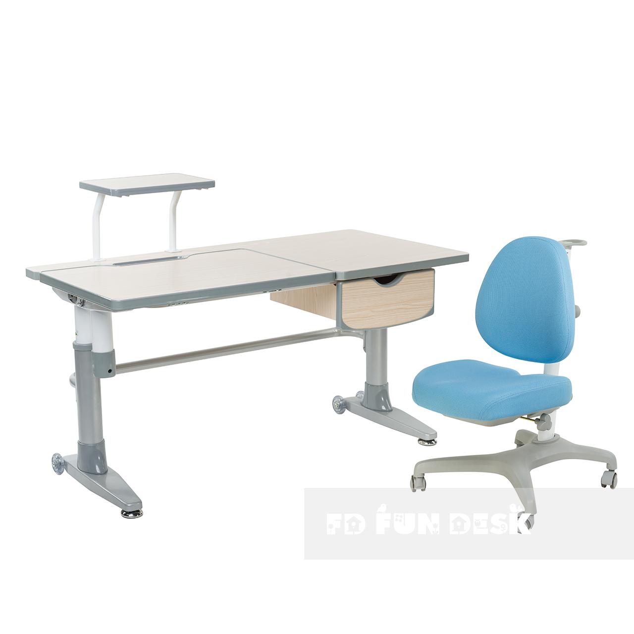 Комплект подростковая парта для школы Ballare Grey + ортопедическое кресло Bello I Blue FunDesk