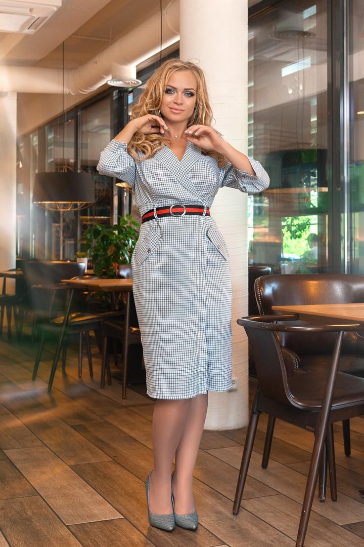 Женское стильное платье на запах с поясом,(р-р 50-56)