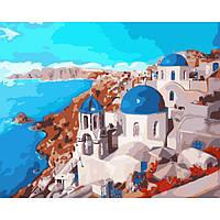 Картина по номерам Городской пейзаж Санторини 40x50 см KHO2139