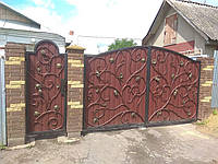 Кованые Ворота распашные металлические с калиткой
