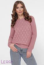 Жіночий зимовий светр з вовни в'язаний бежевого кольору, фото 2