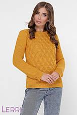 Жіночий зимовий светр з вовни в'язаний бежевого кольору, фото 3