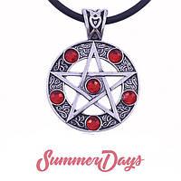 Кулон пентаграмма с камнями красная