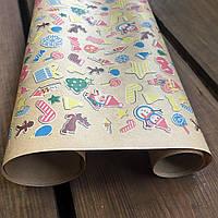 """Крафт папір подарункова """"Новорічні іграшки"""", 0.7 х 2 метри. 70 г/м2. LOVE & home"""
