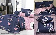 Комплект постельного белья из сатина с компаньоном Only you S348,  разные размеры, фото 1