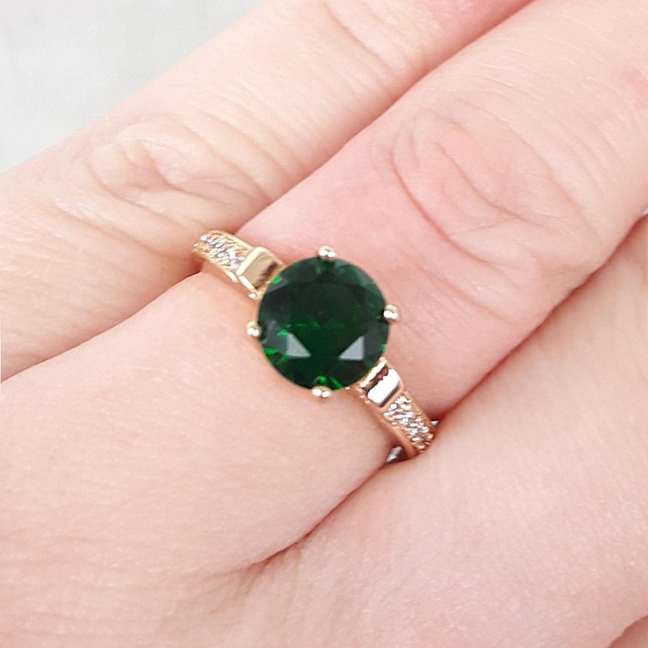 Кольцо 17р. 8мм xuping позолота 18К с зеленым цирконием медзолото8393