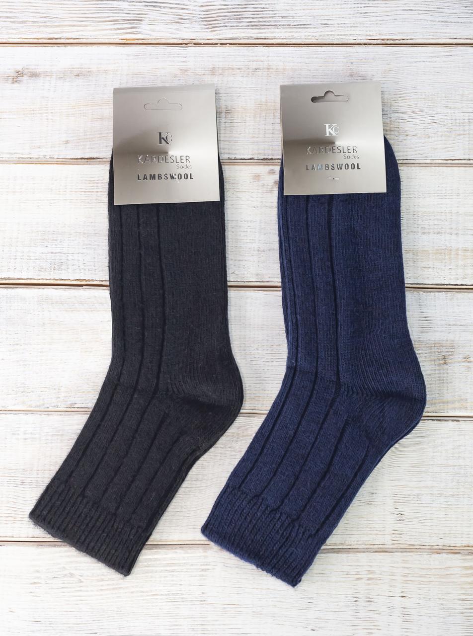 Чоловічі шерстяні носки шкарпетки Kardesler в рубчик однотонні  розмір 40-46 12 шт в уп мікс кольорів