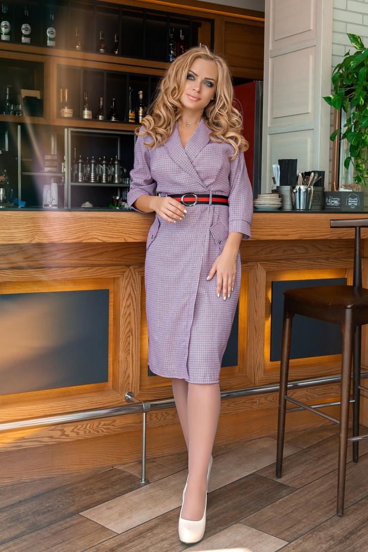 Женское модное платье на запах с поясом,(р-р 50-56)