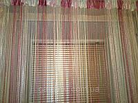 Шторы кисея Радуга Дождь (белый+розовый+фрезовый), фото 1