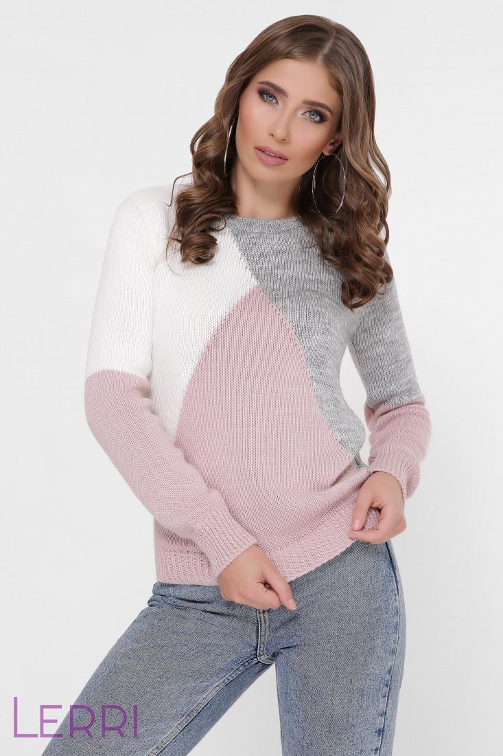 Стильный женский свитер с длинным рукавом на манжете цвет тёмно-серый/пудра/молоко