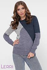 Стильный женский свитер с длинным рукавом на манжете цвет тёмно-серый/пудра/молоко, фото 3