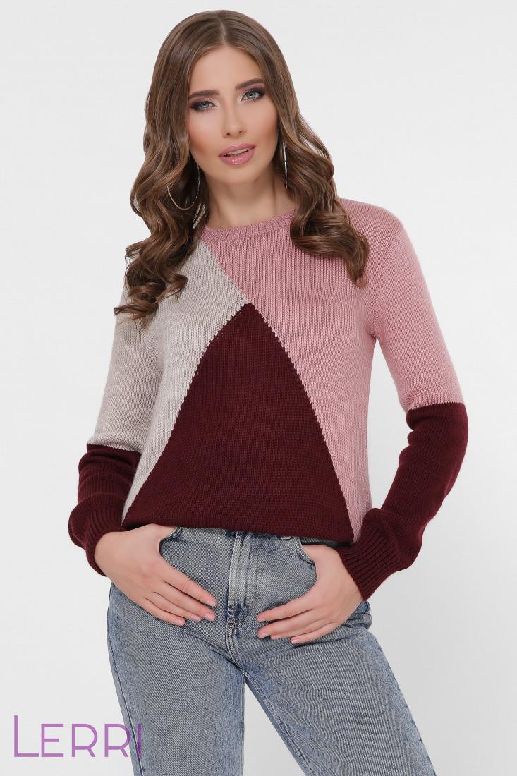 Трёхцветный женский свитер круглый вырез горловины роза/марсала/беж