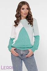 Триколірний жіночий светр круглий виріз горловини троянда/марсала/беж, фото 2