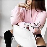 Свитер женский с вышивкой серый, розовый, белый, горчица, мята, фото 3