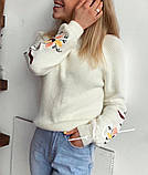 Свитер женский с вышивкой серый, розовый, белый, горчица, мята, фото 4
