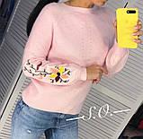 Свитер женский с вышивкой серый, розовый, белый, горчица, мята, фото 10