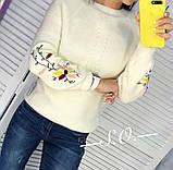 Свитер женский с вышивкой серый, розовый, белый, горчица, мята, фото 7
