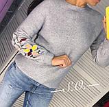 Свитер женский с вышивкой серый, розовый, белый, горчица, мята, фото 9