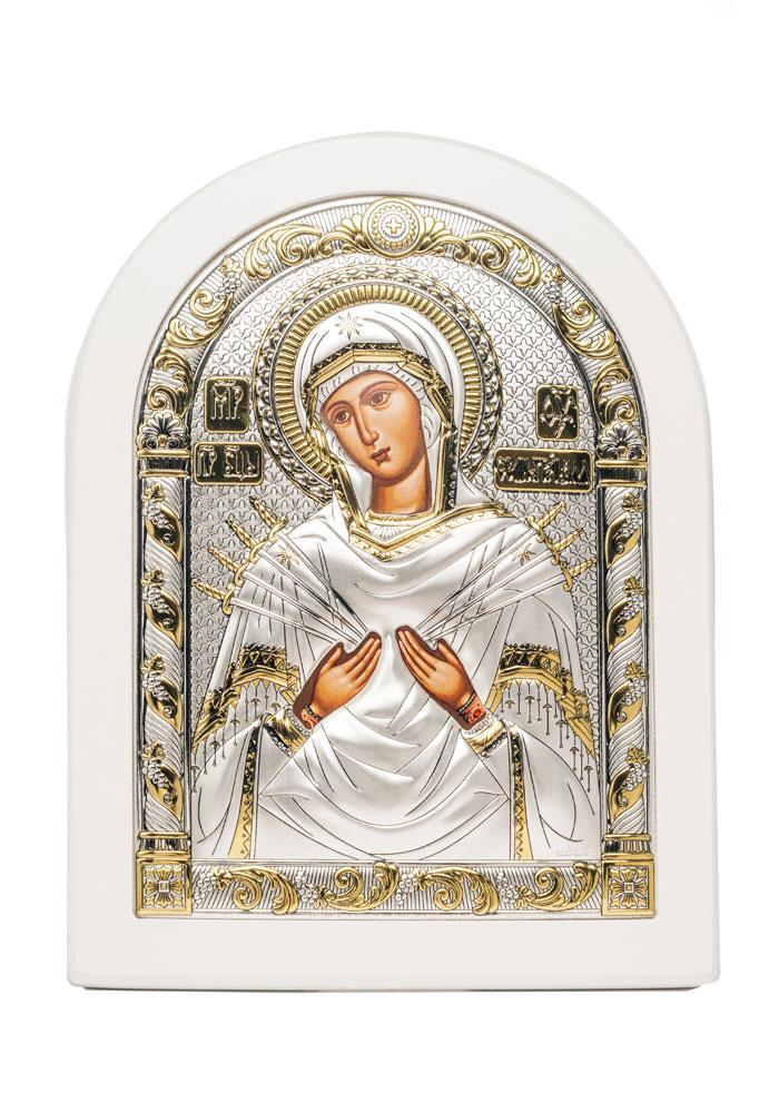 Божья Матерь Семистрельная Икона AGIO SILVER (Греция) Серебряная с позолотой в белом цвете 120 х 160 мм
