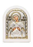 Божья Матерь Семистрельная Икона AGIO SILVER (Греция) Серебряная с позолотой в белом цвете 120 х 160 мм, фото 1