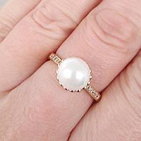Кільце 19р з перлами xuping позолота 18К 8400, фото 1